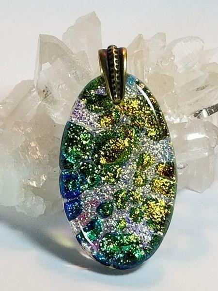 Dichroic Fused Glass Pendant: Champagne Bubbles