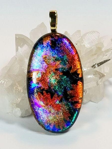 Dichroic Fused Glass Pendant: Autumn Splendor
