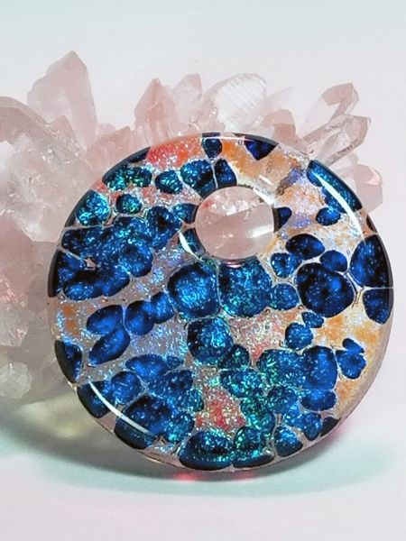 Dichroic Fused Glass Pendant: Champagne Bubbles Round