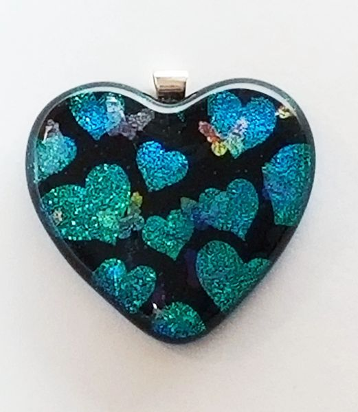 Etched Dichroic Glass Memorial Pendant: Hearts and Butterflies