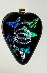 Etched Dichroic Glass Memorial Pendant:Celebration of Life