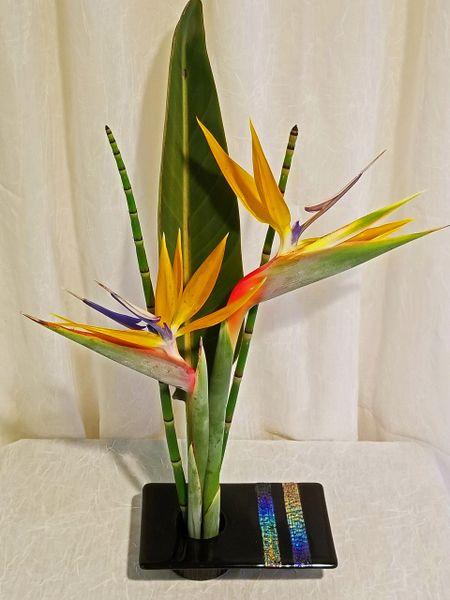 Black Ikebana with strips of Dichroic rainbow glass