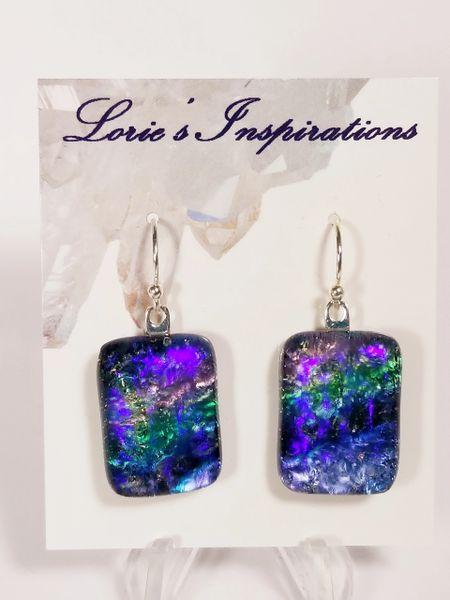 Dichroic Fused Glass Earrings: Aurora Borealis