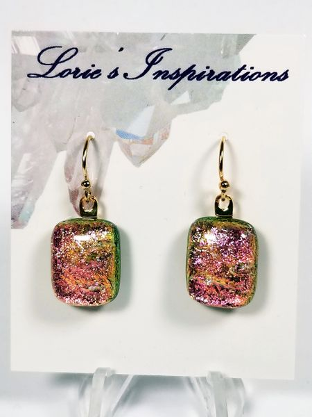 Dichroic Fused Glass Earrings: Spring Pastel