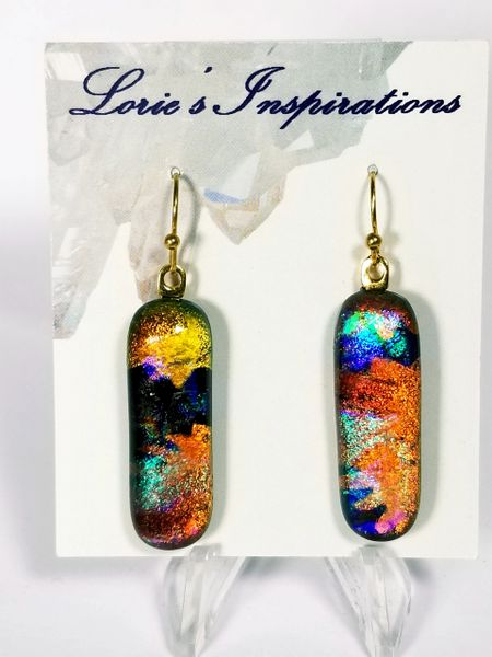 Dichroic Fused Glass Earrings : Autumn Splendor