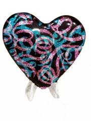 Etched Dichroic Glass Memorial Display Heart:Streamers and Paisley