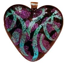 Etched Dichroic Glass Memorial Pendant:Streamers and Hearts