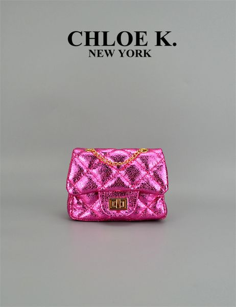 metallic hot pink mini quilted bag