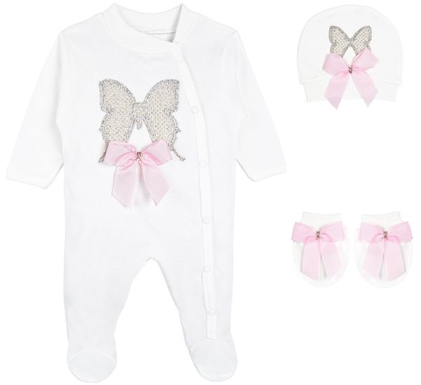 Baby Girl Jewels butterfly Layette 4 Piece Gift Set Pink