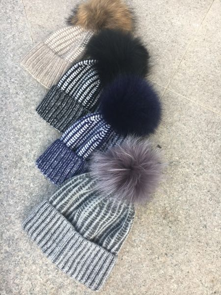 Two-Tone hats with pom