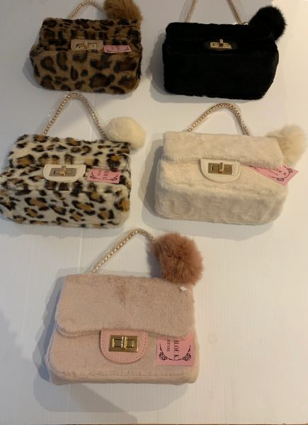 Furry Bag with Pom
