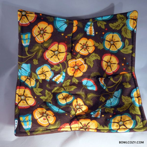 Microwaveable Bowl - Teal & Brown Floral