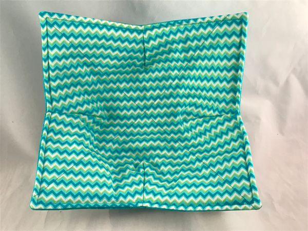 Microwaveable Bowl - Chevron Turquoise Stripe