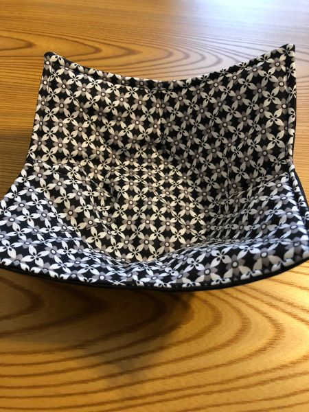 Microwaveable Bowl Cozy- Black & Grey Floral; Made in the USA!