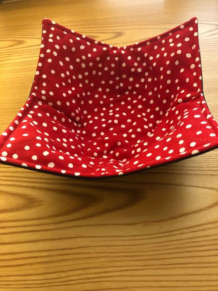 Microwaveable Bowl - WHITE DOTS ON RED