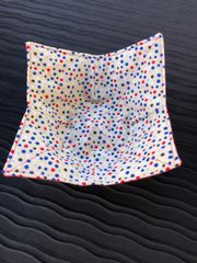 Microwaveable Bowl Cozy - Scattered Dots Blue on Tan