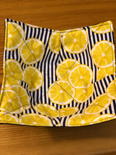 Microwaveable Bowl - Lemons on Blue Stripe
