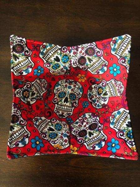 Microwaveable Bowl Cozy -- Sugar Skulls Folkloric On Red
