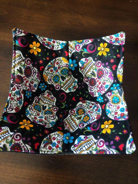 Microwaveable Bowl - Sugar Skulls Folkloric on Black