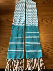 KITCHEN BOA --TEAL WITH TASSLES
