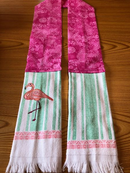 KITCHEN BOA --FLAMINGO WITH FRINGE