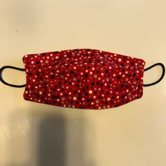 FACE MASK 3 LAYERS -- Red Polka Dots