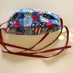 FACE MASK 3 LAYERS -- AMERICANA - W/Tie Straps