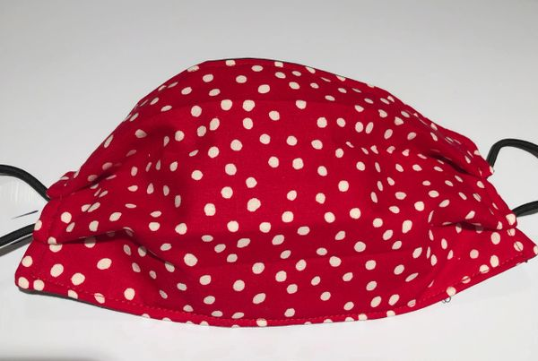 FACE MASK 3 LAYERS -- White Polka Dots on Red