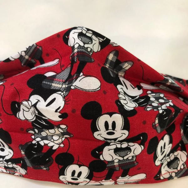 FACE MASK 2 LAYERS -- Mickey & Minnie Denim ADULT OR CHILD