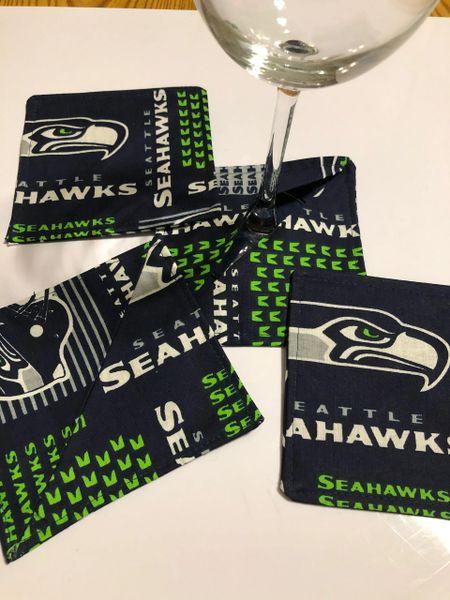 Seahawks NFL Wine Coasters; Set of 4