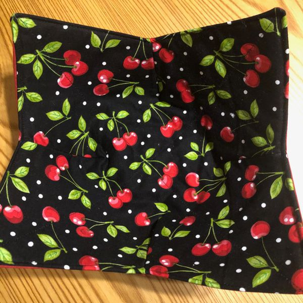 Microwaveable Bowl Cozy; Cherries; Made and ships same or next day from the USA!