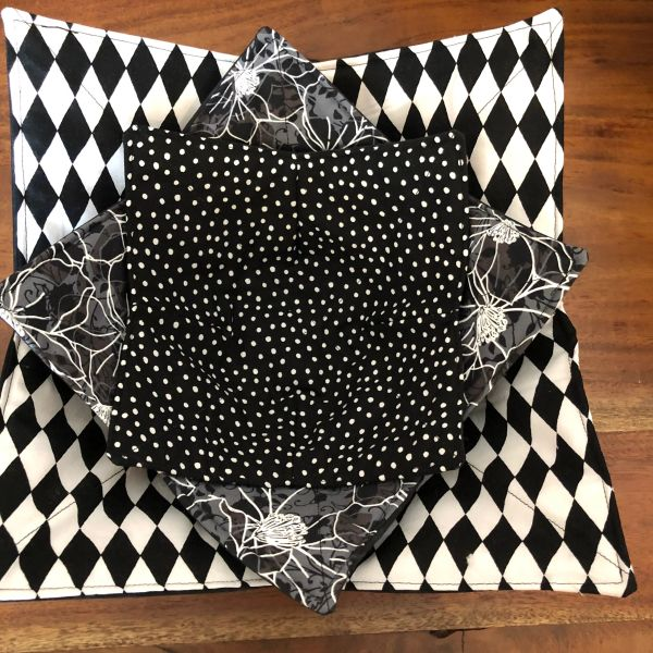 Microwaveable Bowl Cozy; Black and White Mix Set #3