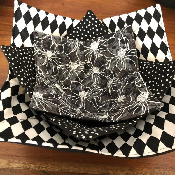 Microwaveable Bowl Cozy; Black and White Mix Set #4