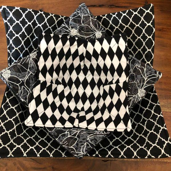 Microwaveable Bowl Cozy; Black and White Mix Set #6