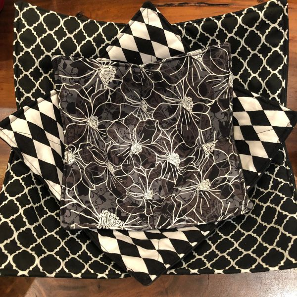 Microwaveable Bowl Cozy; Black and White Mix Set #7