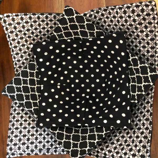 Microwaveable Bowl Cozy; Black and White Mix Set #8