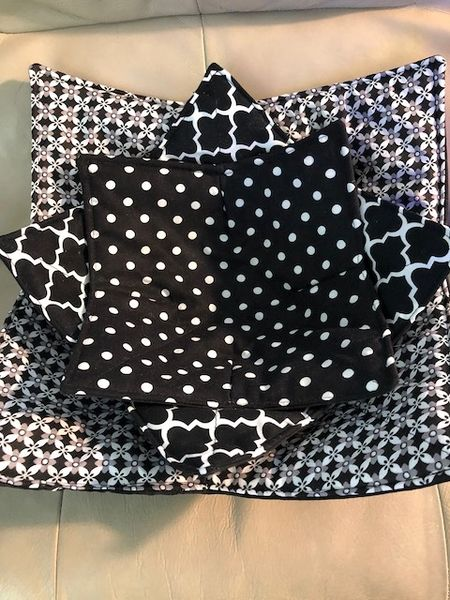 Microwaveable Bowl Cozy; Black and White Mix Set #10