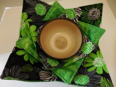 Microwaveable Bowl - Green and Black Floral / Set of all three sizes
