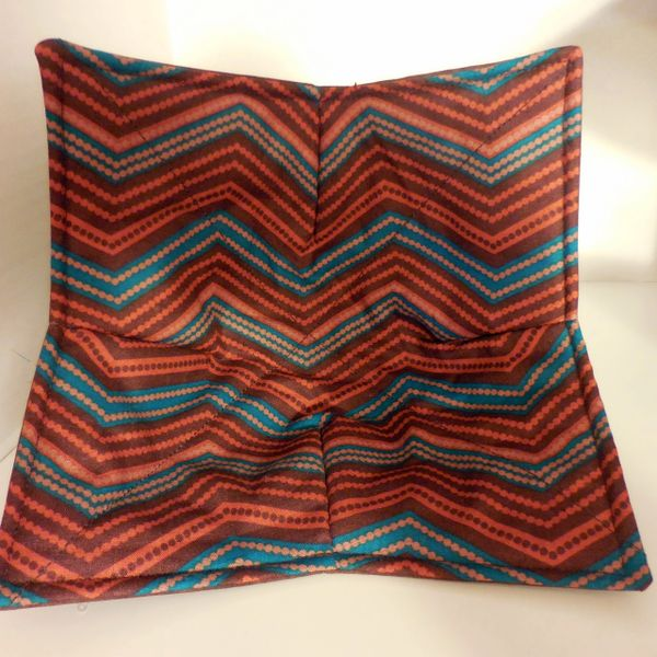 Microwaveable Bowl - Chevron Teal and Brown