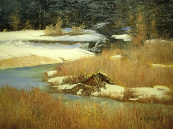 "Beavers' Den in Winter 16"" x 20"" SOLD"