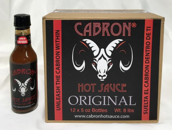ORIGINAL CABRON HOT SAUCE - Case of 12 (5 oz Bottles)