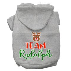 Dog Hoodies: TEAM RUDOLPH Screen Print Dog Hoodie in Various Colors & Sizes by MiragePetProducts