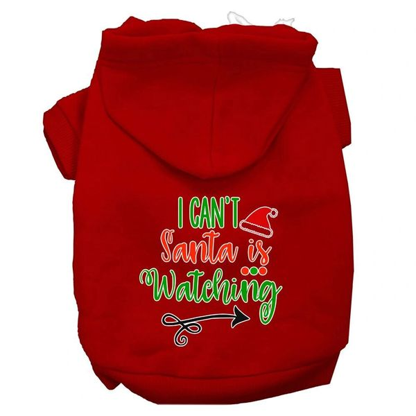 Dog Hoodies: I CAN'T SANTA IS WATCHING Screen Print Dog Hoodie in Various Colors & Sizes by MiragePetProducts