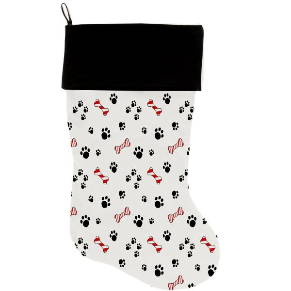"DOG CHRISTMAS STOCKING: High Quality Velvet 18"" Long Christmas Dog Stocking - SWEET PAWS"