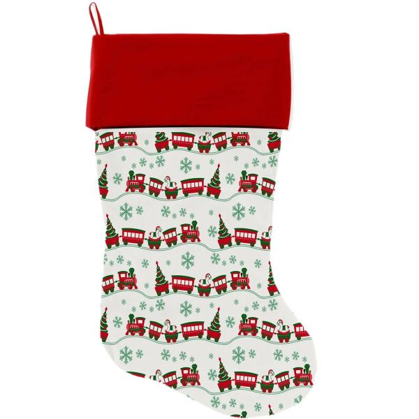 "DOG CHRISTMAS STOCKING: High Quality Velvet 18"" Long Christmas Dog Stocking - CHRISTMAS TRAINS"