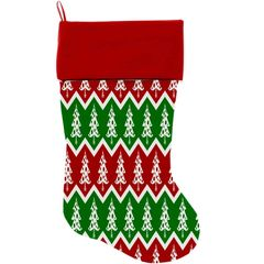 "DOG CHRISTMAS STOCKING: High Quality Velvet 18"" Long Christmas Dog Stocking - CHEVRON CHRISTMAS TREES"