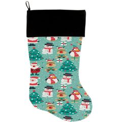 "DOG CHRISTMAS STOCKING: High Quality Velvet 18"" Long Christmas Dog Stocking - FROSTY AND FRIENDS"