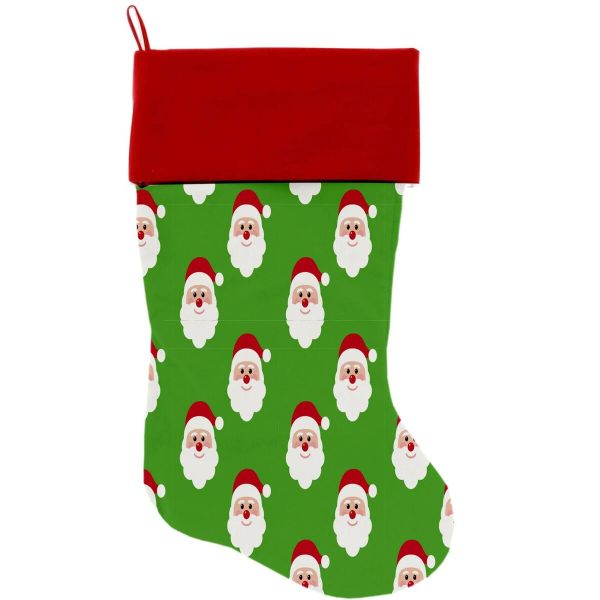 "DOG CHRISTMAS STOCKING: High Quality Velvet 18"" Long Christmas Dog Stocking - SMILING SANTA"