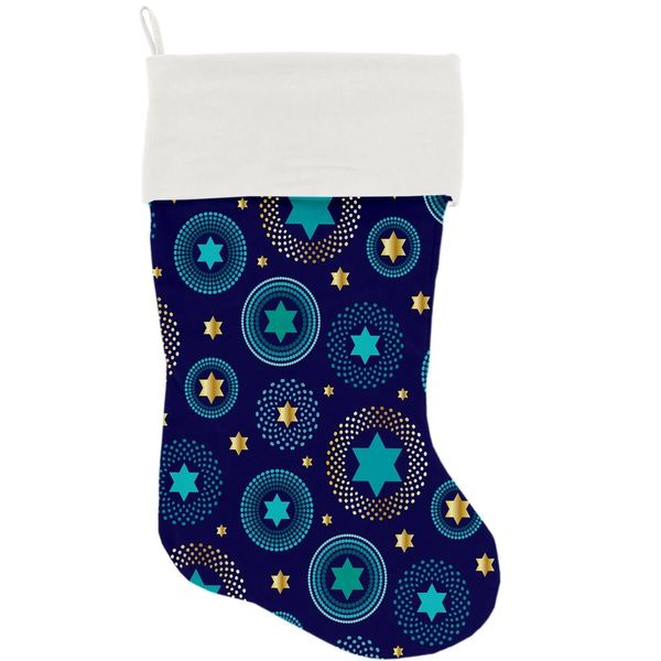 "DOG CHRISTMAS STOCKING: High Quality Velvet 18"" Long Christmas Dog Stocking - BLUE STAR OF DAVID"