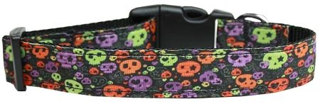 Holiday Dog Collar: Nylon Ribbon Dog Collar by MiragePetProducts - CONFETTI SKULLS